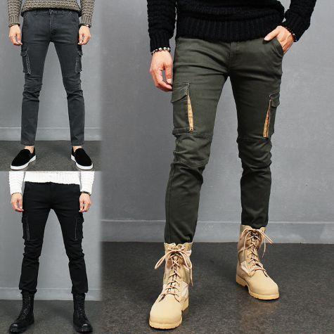 Military Look Slim Fit Skinny Cargo Pocket Pants 711 712 713