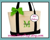 Monogrammed Navy Blue Natural Canvas Large Boat Tote - Initial and Name Personalized Tote - classic beach bag bridesmaids gifts initials. $24.95, via Etsy.