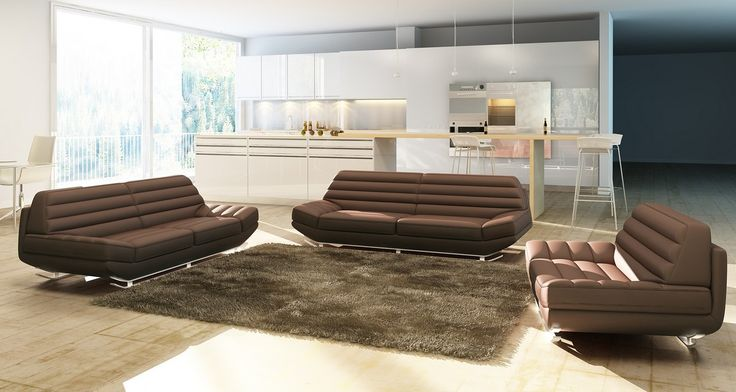 $1976 Divani Casa 3979 Modern Brown Leather Sofa Set
