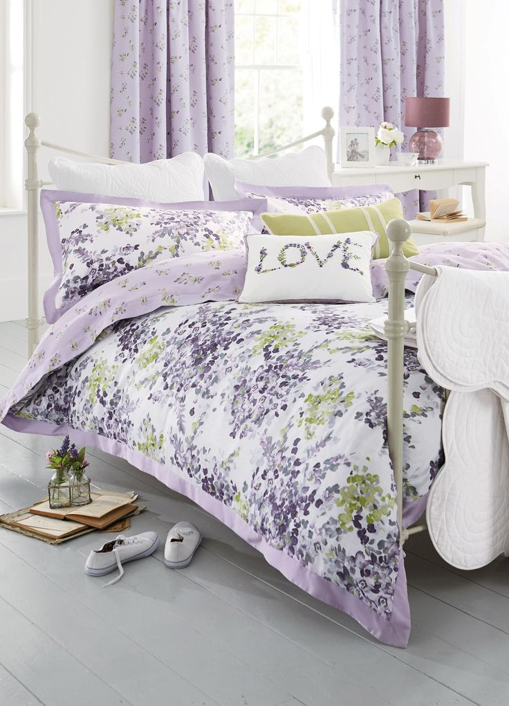 Buy Mauve Watercolour Floral Cotton Sateen Bed Set from the Next UK online shop