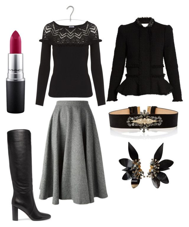 """""""Bottes talon bottier + jupe midi"""" by onemumshow on Polyvore featuring mode, Gianvito Rossi, Elie Saab, Rebecca Taylor, MAC Cosmetics et Marni"""