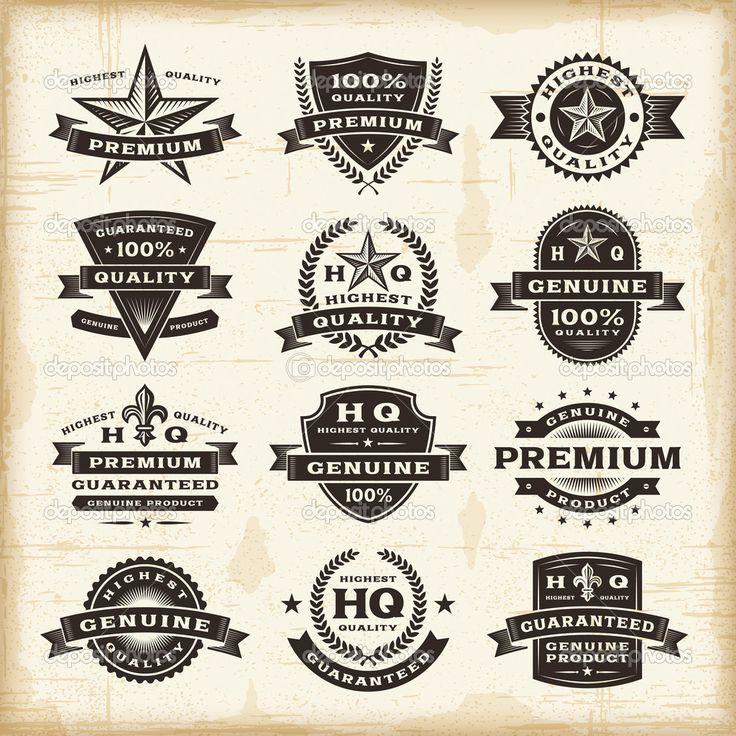 Vintage premium quality labels set — Ilustración de stock #22171173