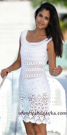 Кружевное платье крючком схемы. Схемы вязаных платьев крючком для лета | Я Хозяйка
