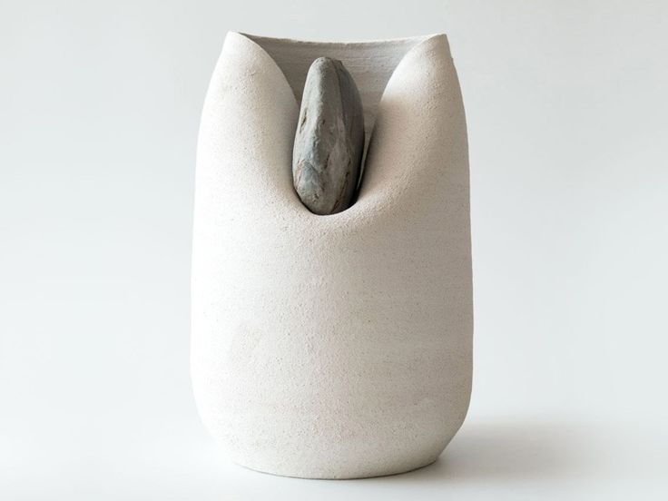 A series designed by Martin Azúa and produced in collaboration with the ceramist Marc Vidal out of Spain. The weight of the stone shapes the clay and forges a lovely symbiosis.  art, ceramics, vase, sculpture, design, ceramic art, contemporary art, hand made, natural materials, organic, tradition, blog post