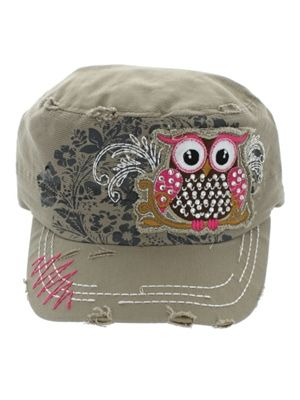 Trendy Owl Cadet Hat with Ponytail Hole - Khaki