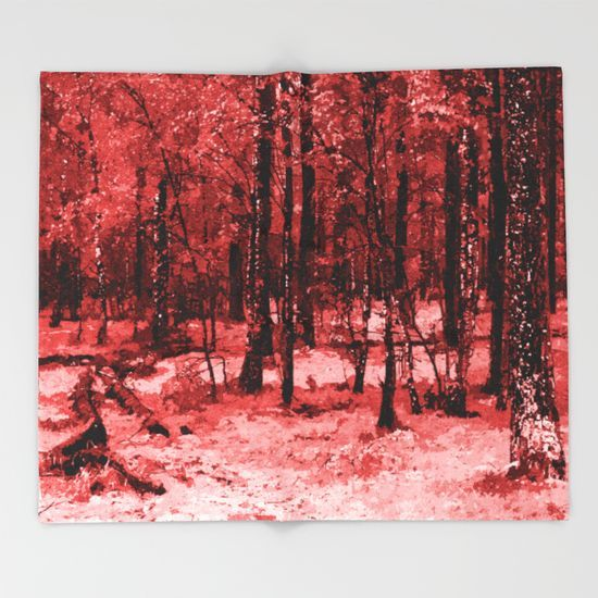 Red enchanted forest, magical nature, beautiful view, calm place, rich colors wild nature painting Throw Blanket Up to $34 Off + Free Shipping on Bedding & Bath items! #sale #onsale #promo