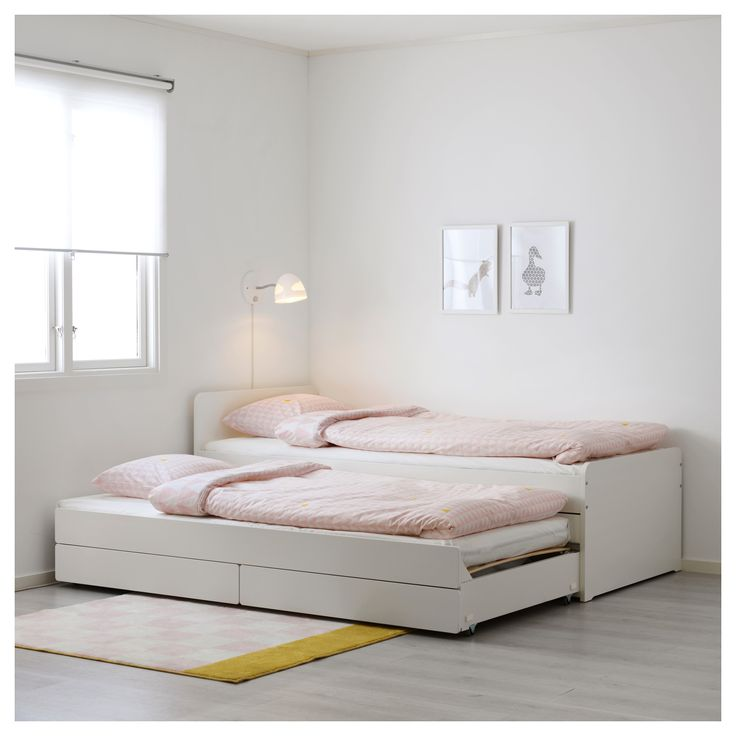 IKEA - SLÄKT, Bed frame w/pull-out bed + storage, , The pull-out bed is perfect to roll out when a friend sleeps over and there's room for both bed linens and toys in the 2 drawers.