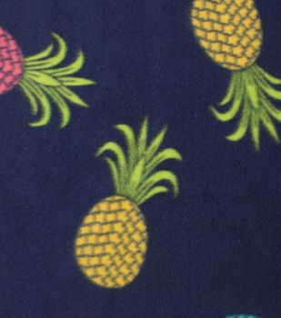 """Blizzard Fleece Fabric 59""""-Colored Pineapples"""