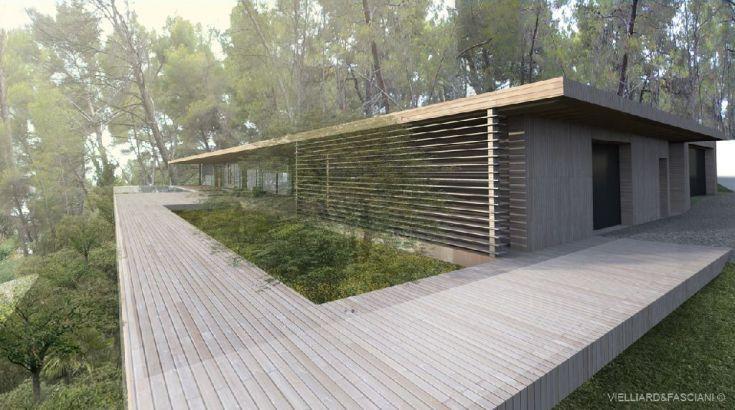 Maison contemporaine à ossature bois BBC sur les hauteurs d'Aix en Provence (Bouche du Rhône).  Architectes Thomas VIELLIARD & Gianni FASCIANI - 2011