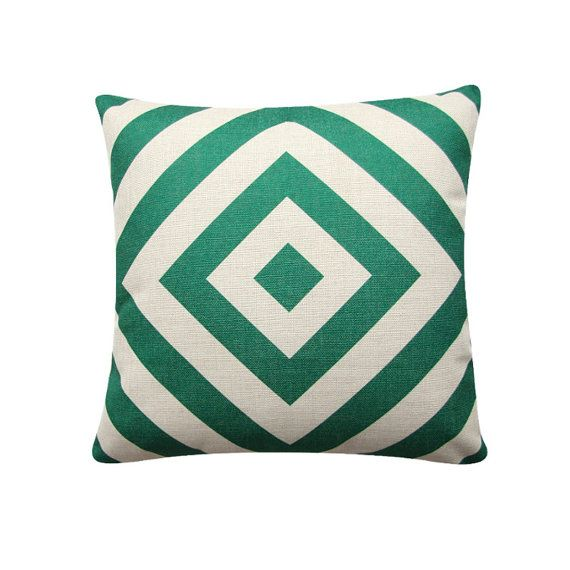 "Green Geometric Diamond Pillow Cover, 18""x 18"" Cushion Cover, Geometric Cushion, Emerald Green, Minimalist Cushion Tribal Cushion 384"
