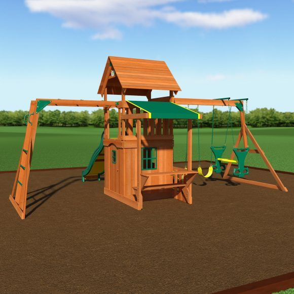 wooden tree house swing play sets with sliding and table under green canopy as well as swing sets for toddlers plus outdoor swing sets for toddlers 580x580