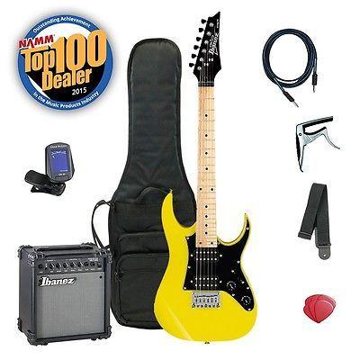 Ibanez Mikro GRGM21M 3/4 Kids Electric Guitar Bundle w Amp & Accessories Yellow