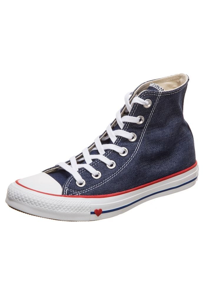 Converse Sneaker Chuck Taylor All Star Damen Blue Denim Rot Weiss Grosse 40 40 5 G In 2020 Chuck Taylors Converse Chuck Taylor High Top Sneaker Chucks Converse
