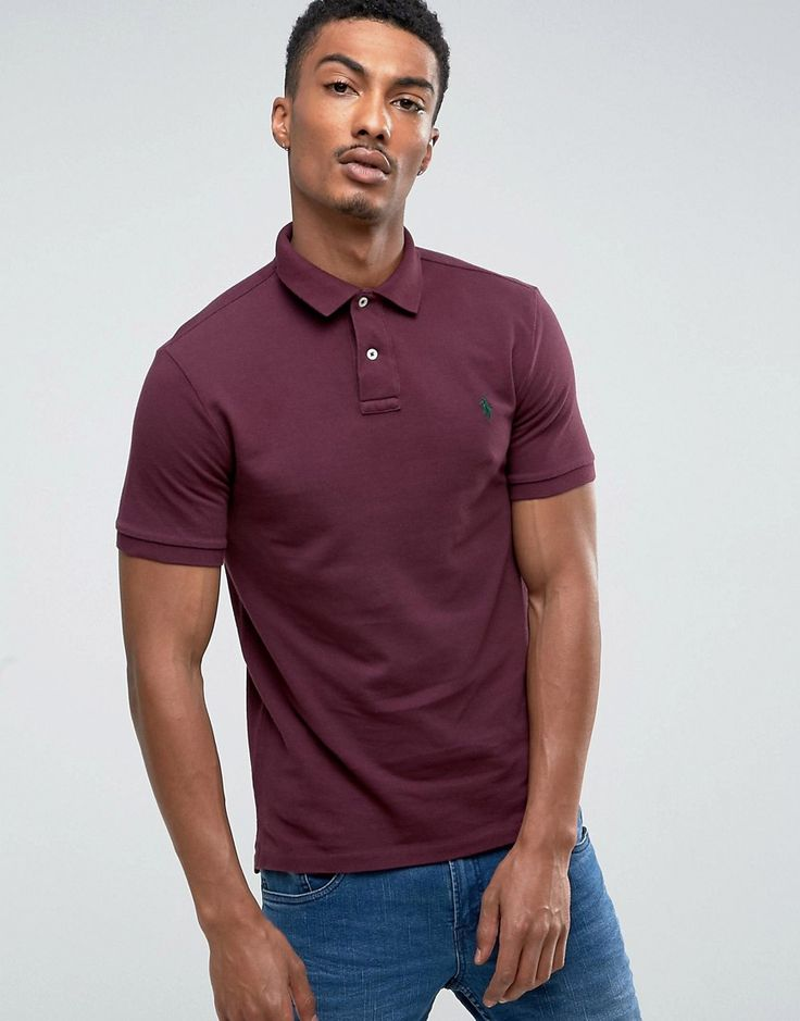 Get this Polo Ralph Lauren's polo shirt now! Click for more details. Worldwide shipping. Polo Ralph Lauren Pique Polo Slim Fit in Burgundy - Red: Polo shirt by Polo Ralph Lauren, Durable cotton mesh pique, Ribbed collar and cuffs, Button placket, Embroidered polo player, Uneven vented hem, Slim fit - cut close to the body, Machine wash, 100% Cotton, Our model wears a size Medium and is 187cm/6'1.5 tall. Naming his brand after a game that embodies classic style, Ralph Lauren created Polo…