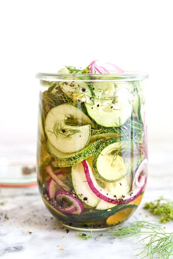 Spiralized Refrigerator Quick Dill Pickles   foodiecrush.com