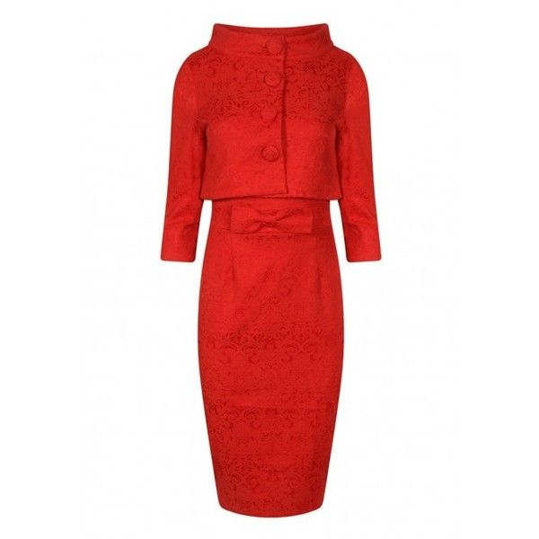 Lindy Bop Maybelle Jacquard Pencil Dress Twin Set in Red ❤ liked on Polyvore featuring dresses, cocktail dresses, red evening dresses, red fitted dress, two piece evening dresses and fitted cocktail dresses
