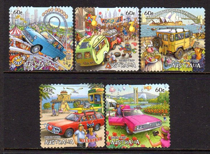 2012 ROAD TRIP GROUP OF 5 SELF ADHESIVE ISSUES