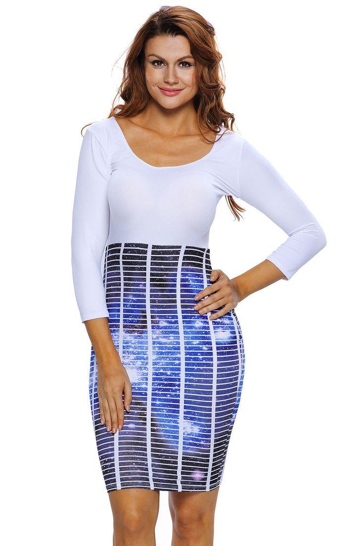 Robes Moulantes Femmes Jupe Galaxie Mosaique Pas Cher www.modebuy.com @Modebuy #Modebuy #Blanc #CommeMontre #gros #femmes