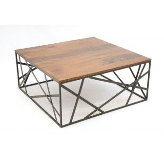773400 TABLE BASSE METAL FER FORGE ET BOIS 90X90CM