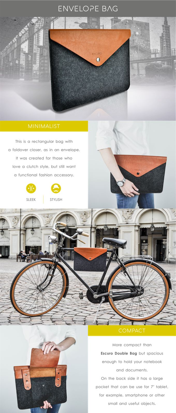 An innovative, durable and stylish bike bag. The best balance of design and functionality, created with high-quality Italian materials.