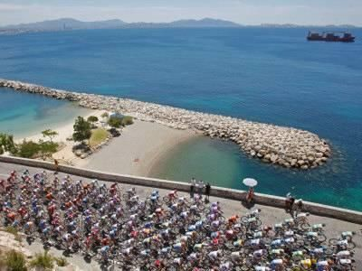 Peloton Along Mediterranean Sea, Third Stage of Tour de France, Marseille, July 7, 2009 Photographic Print at Art.com