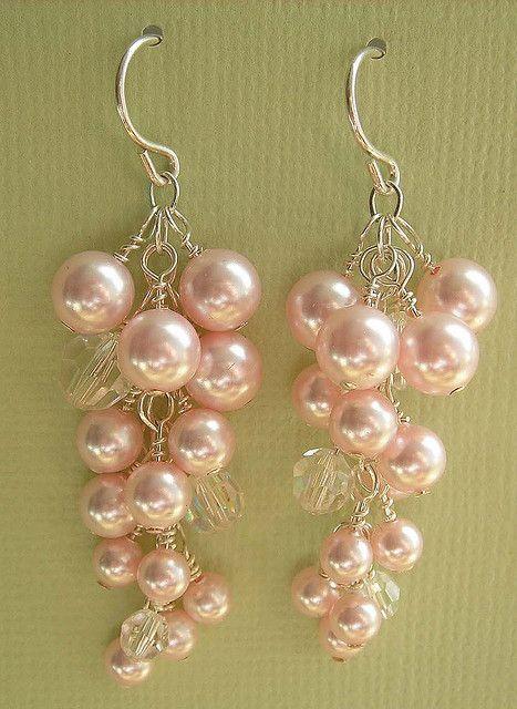 grape cluster bridal earrings pink pearl crystal