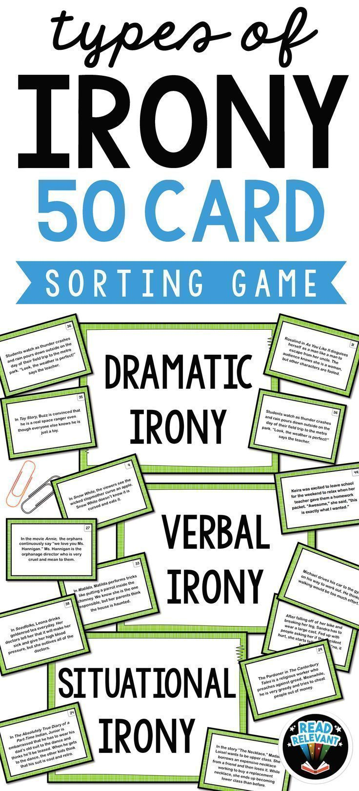 Types Of Irony Sort 50 Card Sorting Activity Best Of