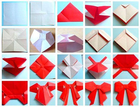 Бантики оригами схема