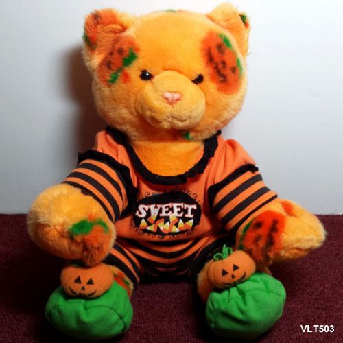 Build A Bear Pumpkin Cat - Pumpkin Fun - Plush Stuffed Orange Kitty Cat w Outfit