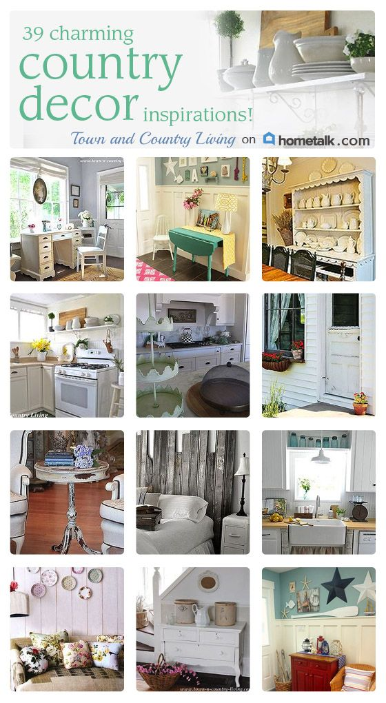 Country Decor Inspirations - collection of country style decorated rooms, from farmhouse to cottage to modern and more.