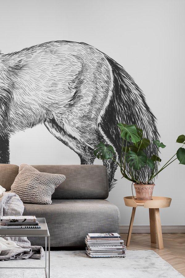 Fox Drawing Wallpaper In 2020 Wall Murals Tree Wall Murals Drawing Wallpaper