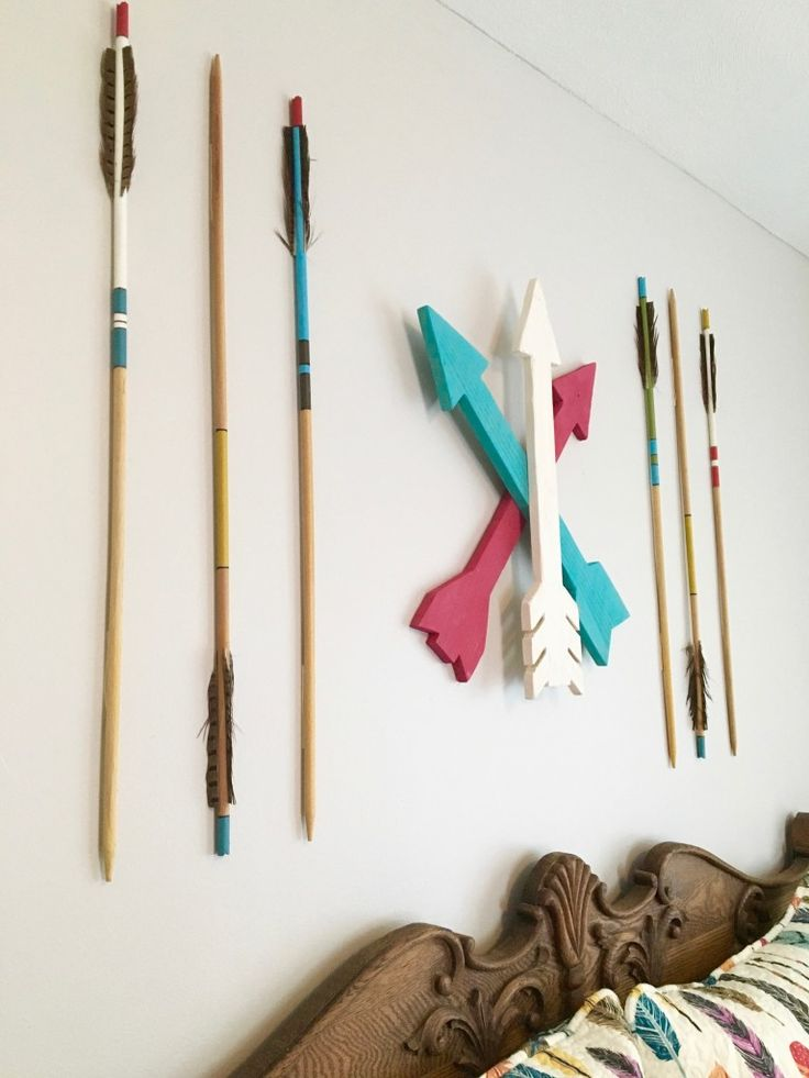 Adventure Awaits! Create a boho chic teen girls bedroom with arrow and feather bedding, wood  accents and other bohemian decor. Layer colors and textures with this fresh room decor. Wooden arrows from @TheDottedBow.