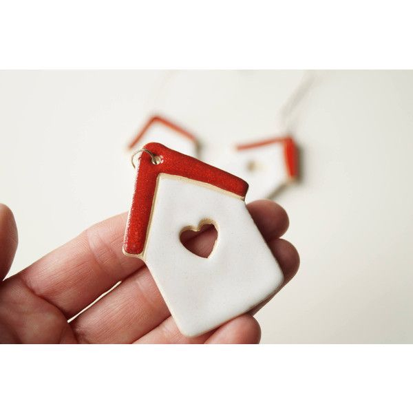 Housewarming Guest Favors, Wedding Favors, Set of 3, Hanging Ornament,... ($15) ❤ liked on Polyvore featuring home, home decor, holiday decorations, ceramic ornaments, european home decor, pottery ornaments and ceramic home decor
