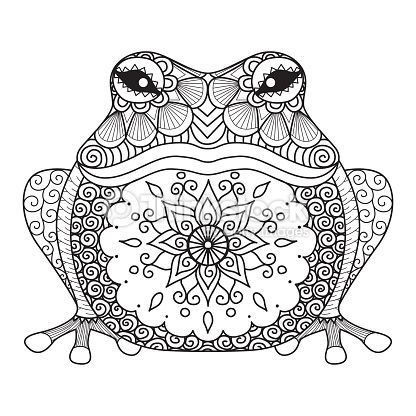 Arte vectorial : Hand drawn frog for coloring book for adult, shirt design
