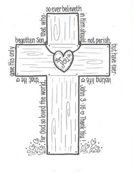 John 3:16...For God so loved the world...surrounds this cross. Can use for art projects or bulletin board idea.( I copy on card stock) By Bunky Business
