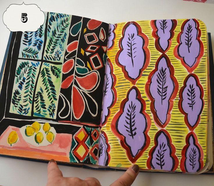 Matisse studies in Mary Ann Moss sketchbook #visual_journal #patterns