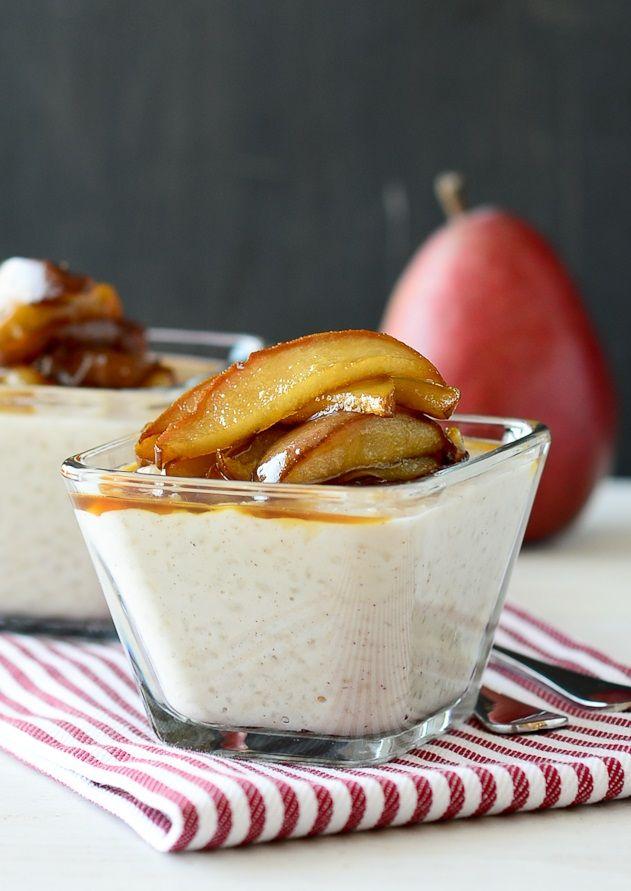 Vanilla Pudding With Sautéed Pears