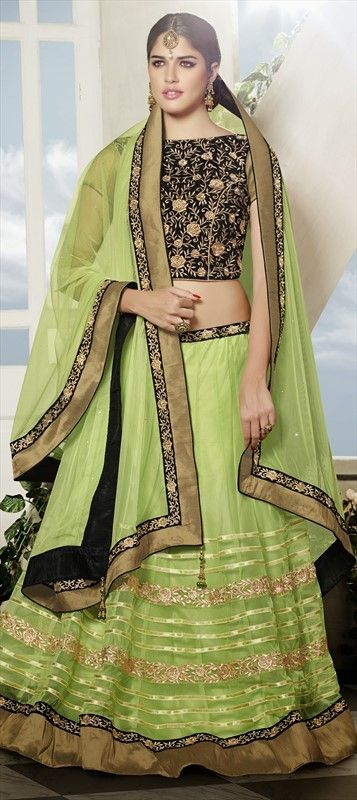 Mehendi & Sangeet Lehenga, Net, Stone, Patch, Zari, Border, Lace, Green Color Family