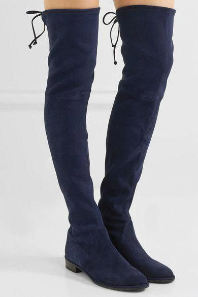 b4be0a0247a Stuart Weitzman - Lowland Stretch-suede Over-the-knee Boots - Navy   StuartWeitzman