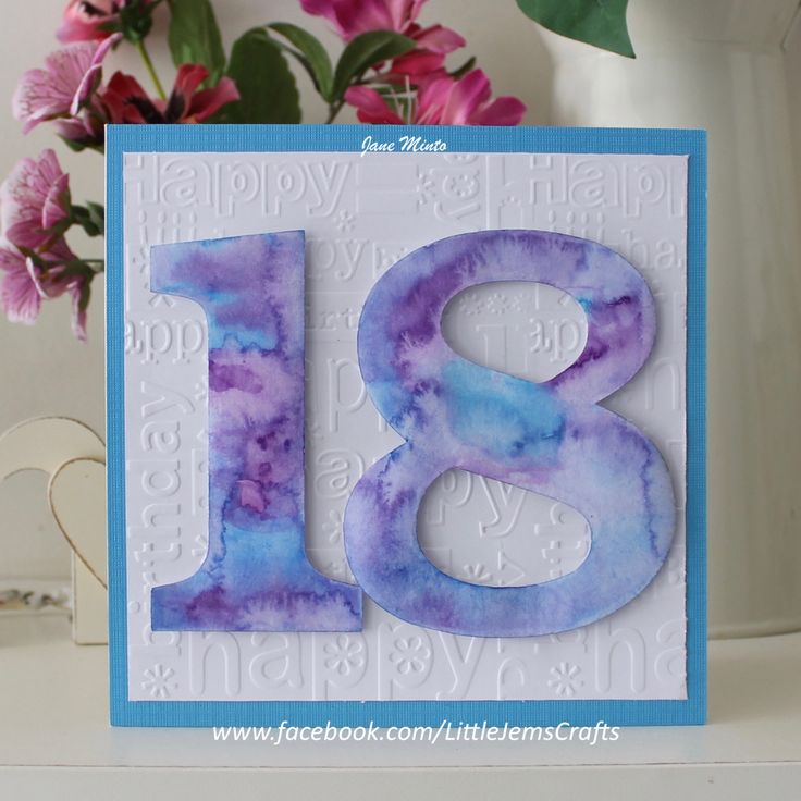 18th birthday card - hand painted in water colours - tie dye effect by…