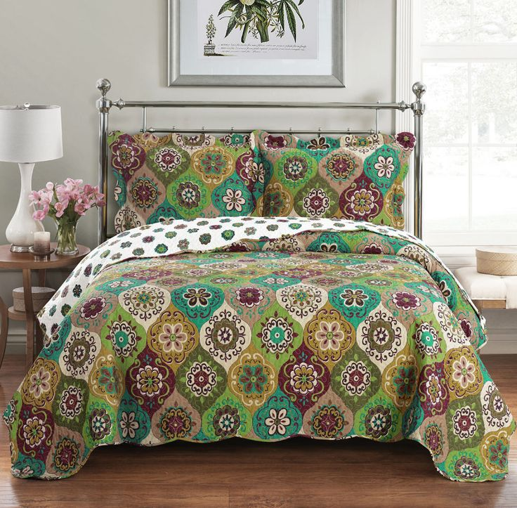 Bonnie Over sized Coverlet 3 PC King Size Luxury Microfiber Printed Quilt Set in Home & Garden, Bedding, Quilts, Bedspreads & Coverlets | eBay