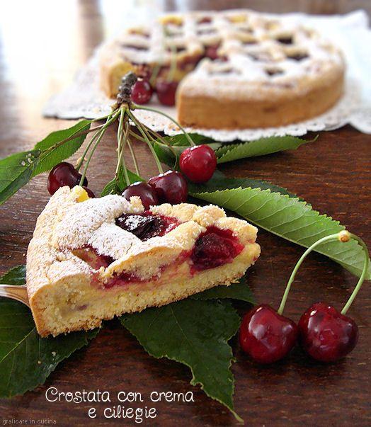 Crostata con crema e ciliegie http://blog.giallozafferano.it/graficareincucina/crostata-con-crema-e-ciliegie/