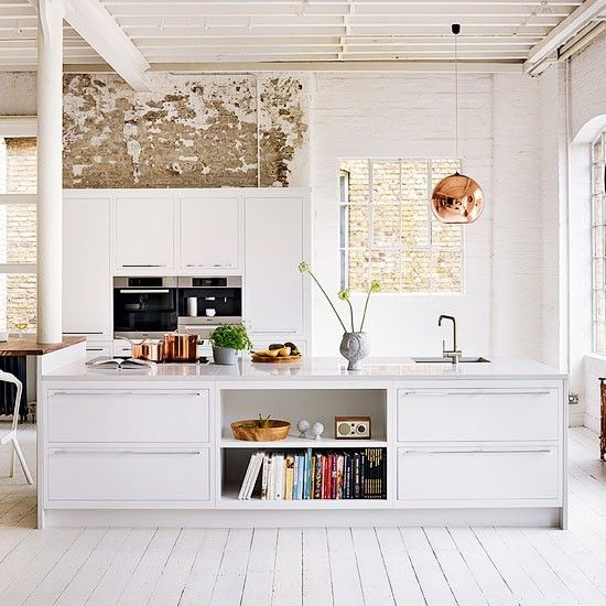 White kitchen, copper light, open shelf