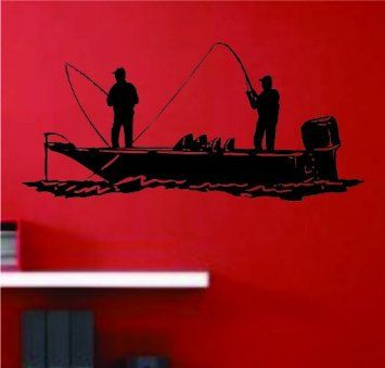 Bass Fishermen On A Boat Decal Decal Sticker Wall Clip