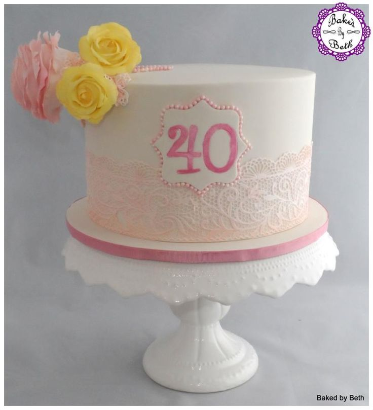 Roses and Lace - Cake by BakedbyBeth