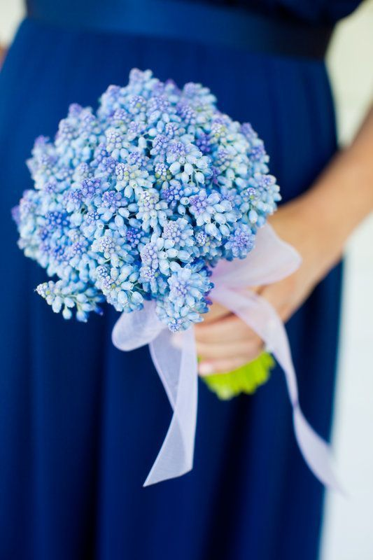 Blue hyacinth bridesmaid bouquet