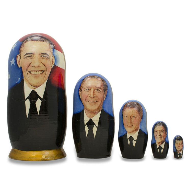 5'' Set of 5 USA Presidents Obama Bush Clinton Roosevelt Kennedy Wooden Nesting Dolls