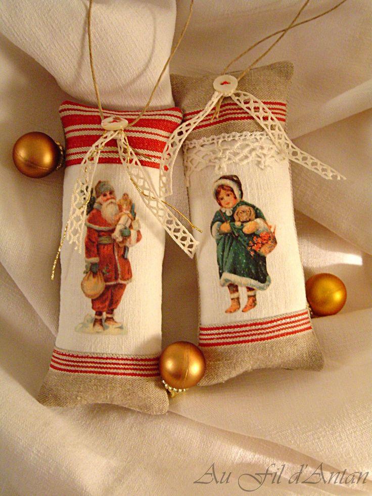 Décoration de Noël : lot deux coussinets images victoriennes : Accessoires de maison par aufildantan