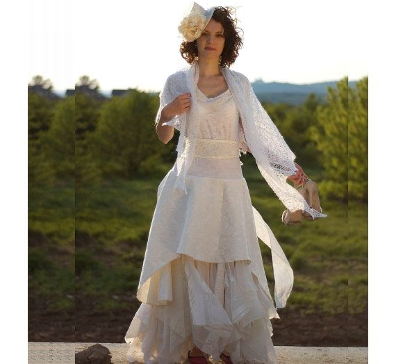 Cream Ivory Off White Fairy Dress Upcycled Wedding Dress by cutrag, $282.82Chic Funky, Dresses Upcycling, Clothing Shabby, Fairies Dresses, Cream Ivory, Eco Style, Grown Tattered, Funky Eco, Dresses Grown