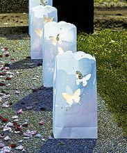 """""""Light The Way"""" White Luminary Bags with Die-Cut Butterfly Pattern-Pkgs of 12"""